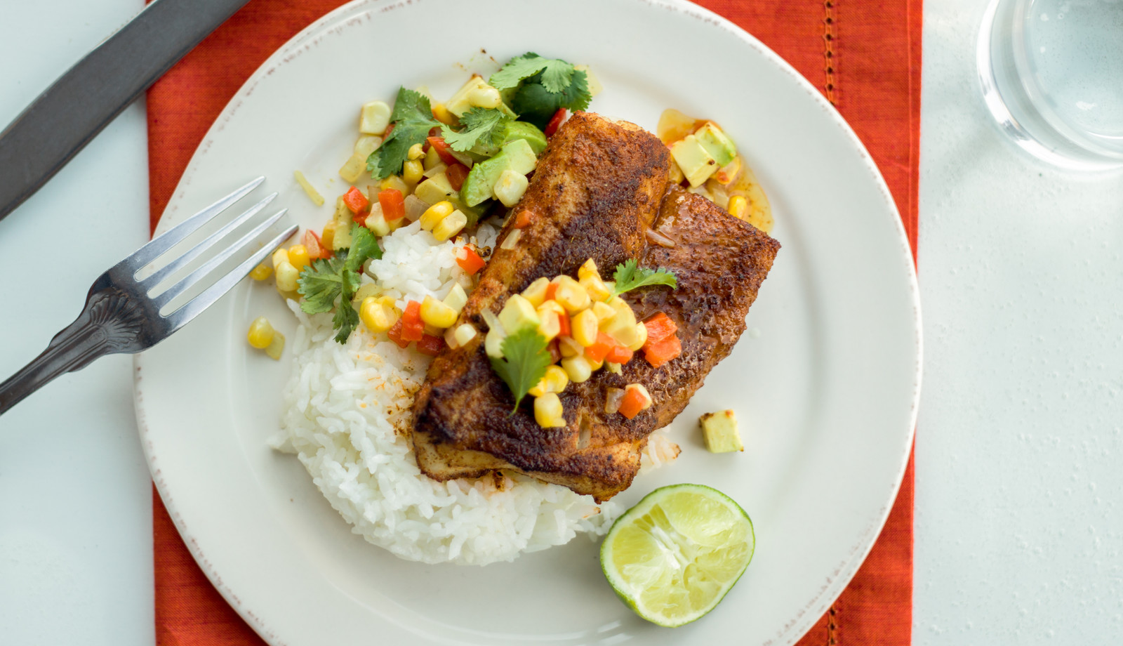 Blackened Rockfish with Avocado-Corn Salsa