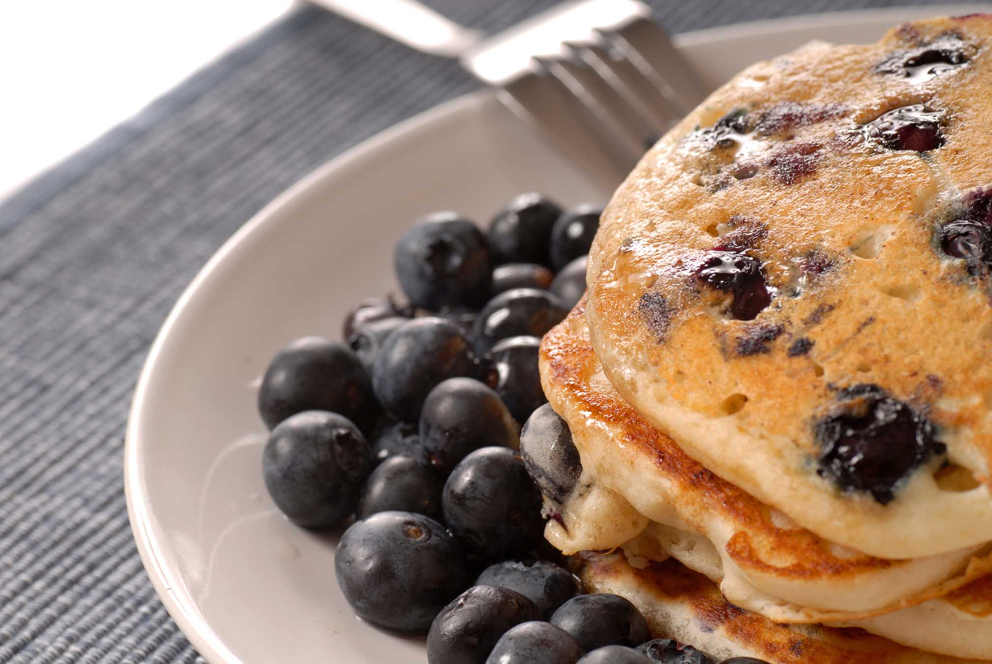 Eggnog Pancakes with Blueberries