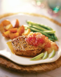 Chopped Apples and Pork Chops In Apple Cider
