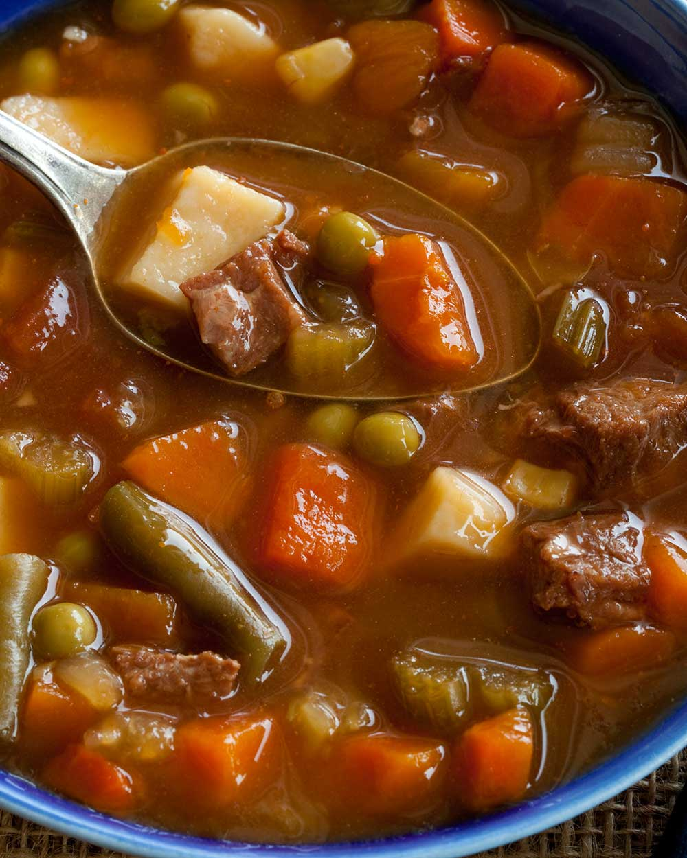 Beef and Vegetable Soup with Red Wine