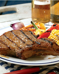Skillet Pork Chops with Roasted Vegetables