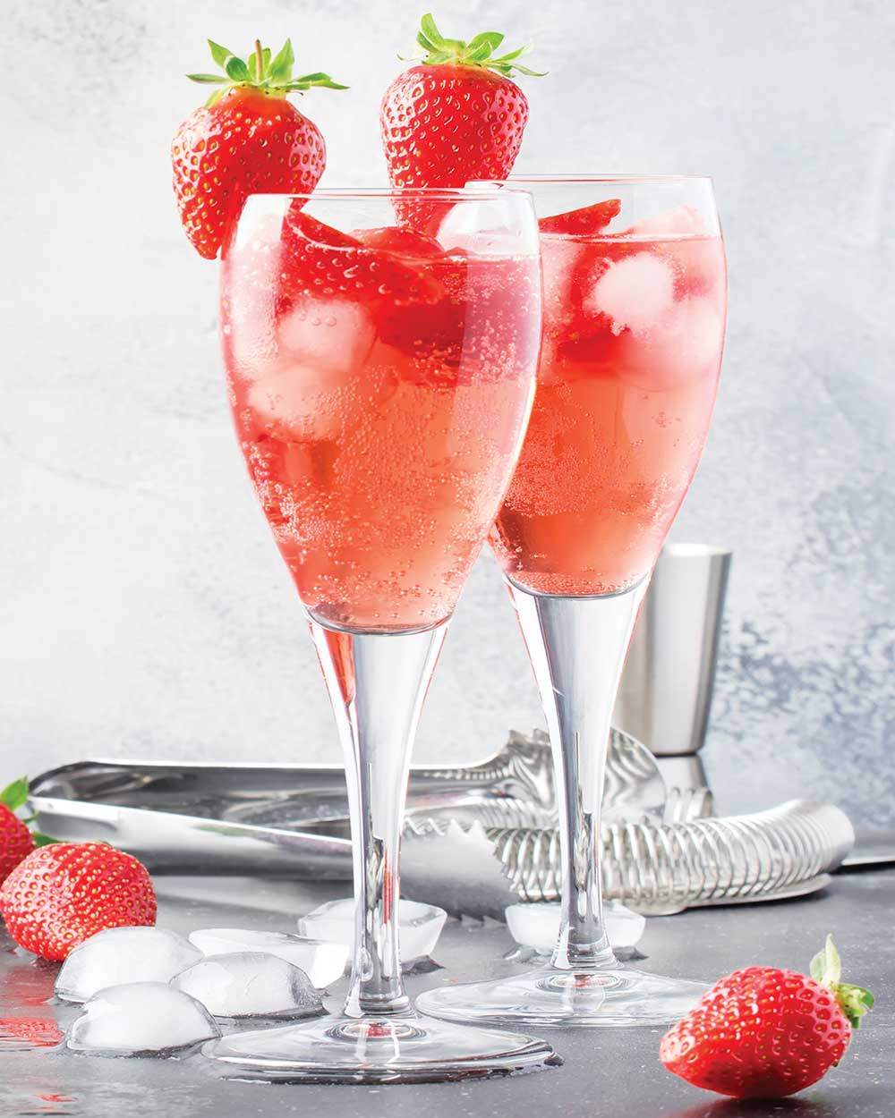 Champagne Cocktails with Strawberry Puree