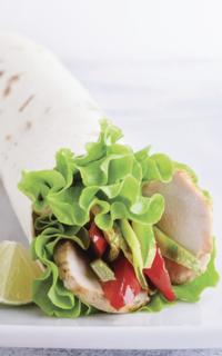 Fresh Strawberries & Marinated Chicken Salad Wraps