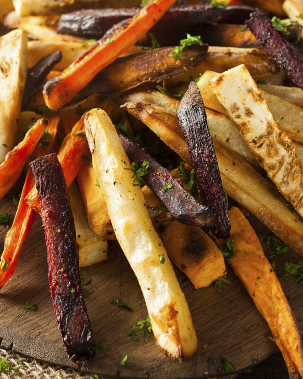 Crispy Baked Beet and Sweet Potato Fries