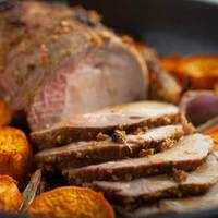 Cuban Citrus Pork Loin Roast with Sweet Potatoes