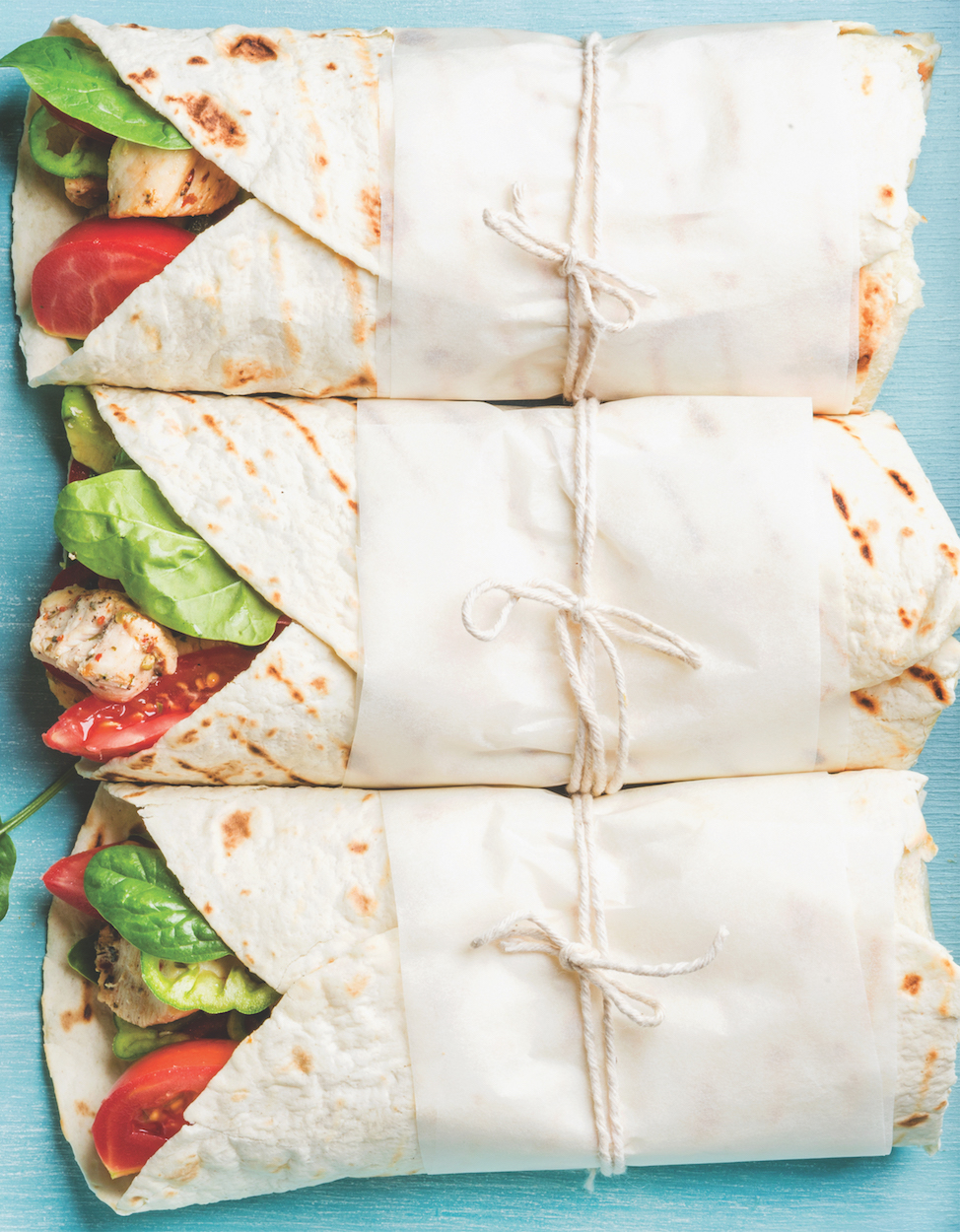 Fresh Strawberries and Marinated Chicken Salad Wraps
