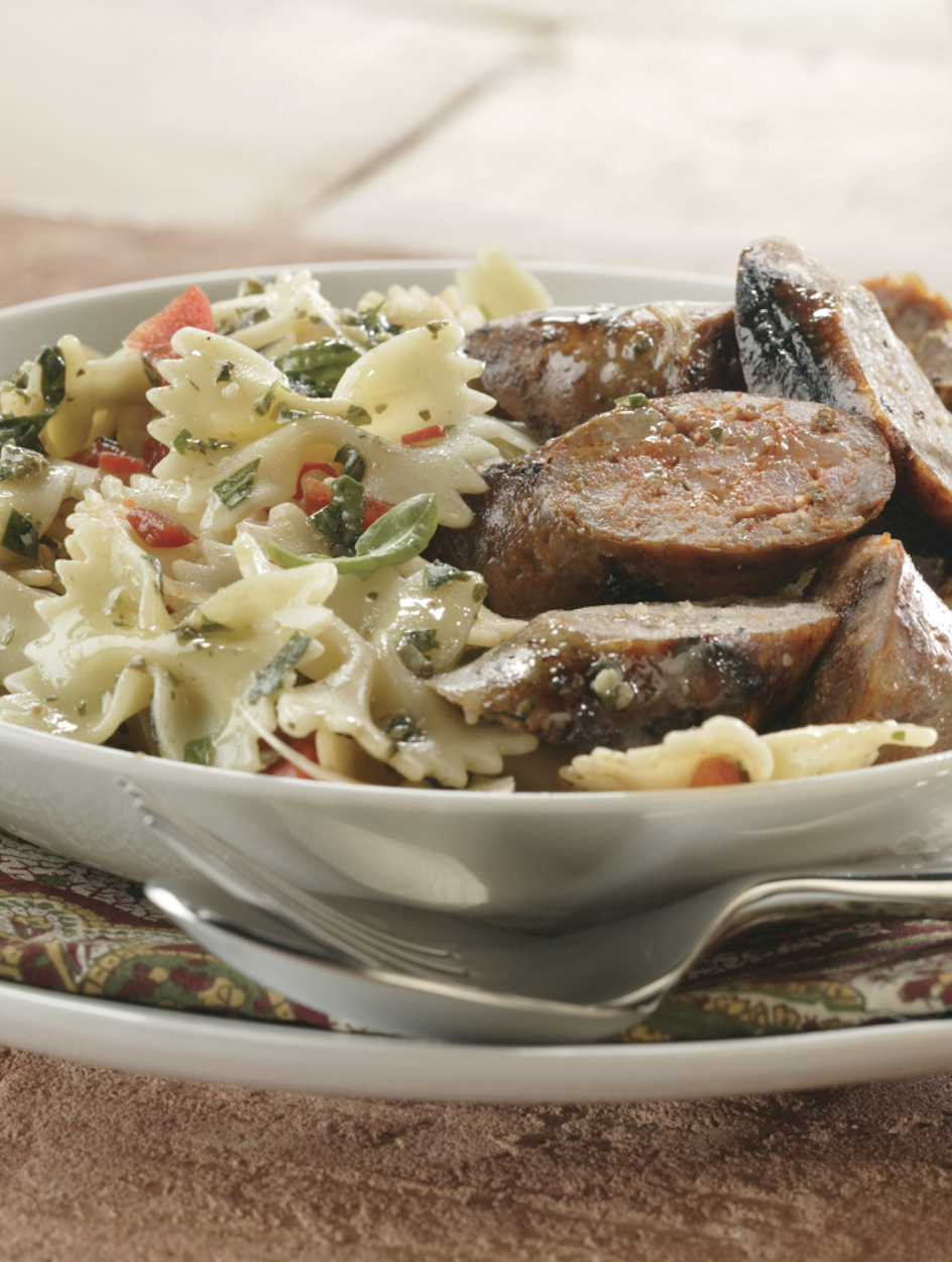 Farfalle Pasta with Grilled Scallions and Tomato