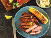 Pork Chops with Chipotle Cilantro Butter