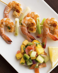 Tasty Grilled Shrimp With Sweet Pineapple & Juicy Melon Salsa