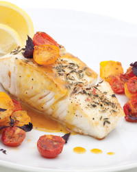Pan-Grilled Halibut with Basil, Cilantro and Lemon Juice