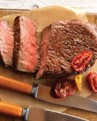 Lemon-Pepper Ribeye Steaks with Roasted Tomatoes