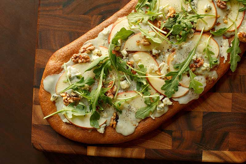 Fall Flatbreads with Apples or Pears, Gorgonzola, & Walnuts