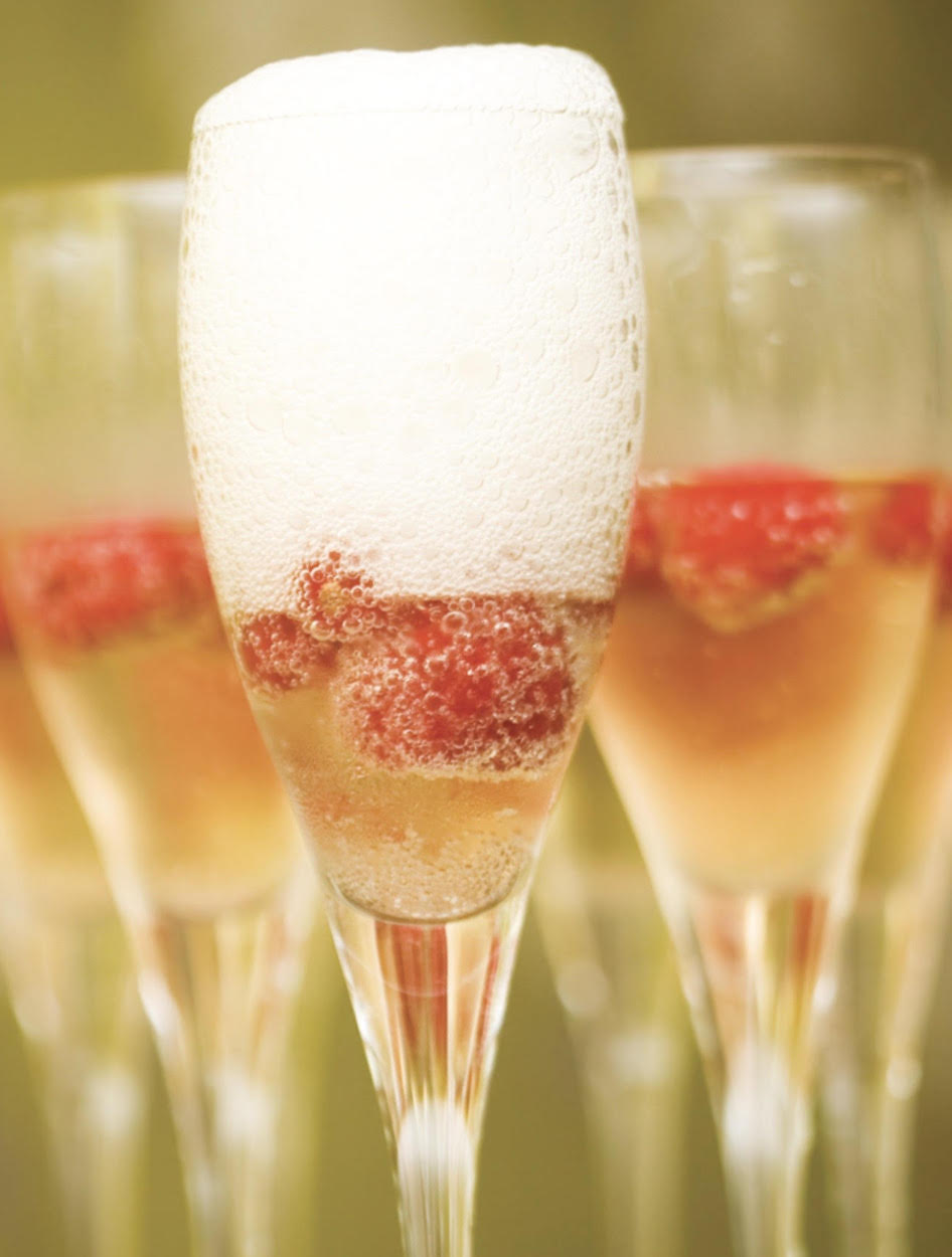 Champagne Punch with Raspberries