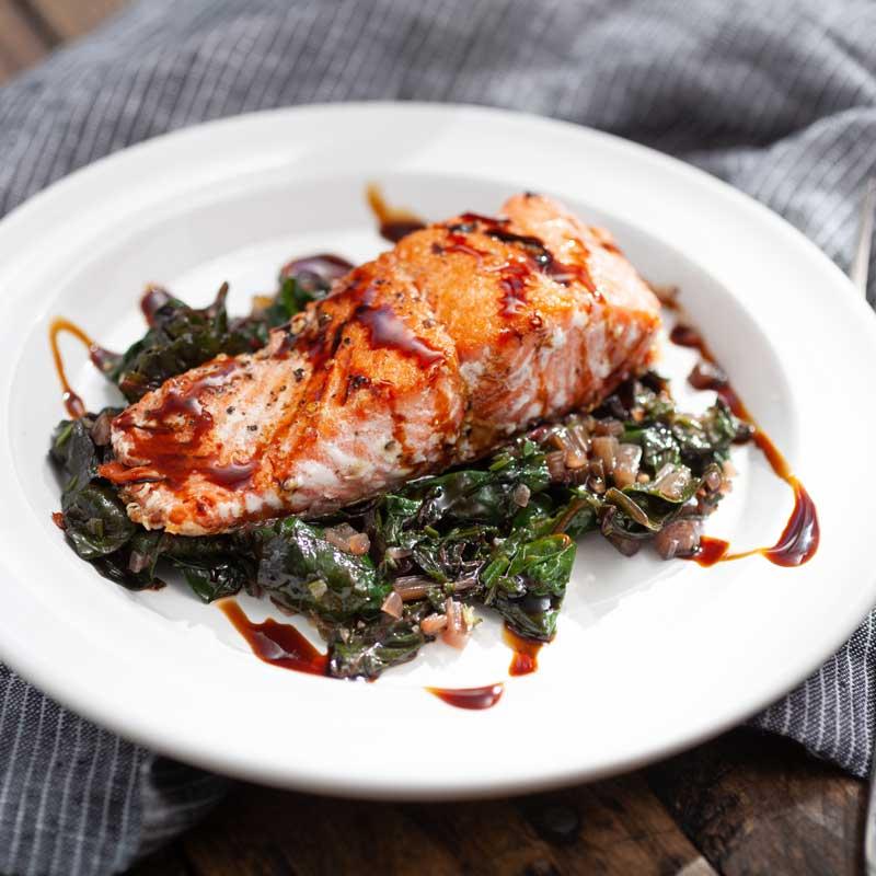 Pan-Fried Salmon with Swiss Chard