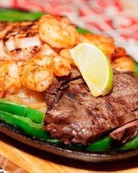 Sizzling Shrimp and Steak Fajitas