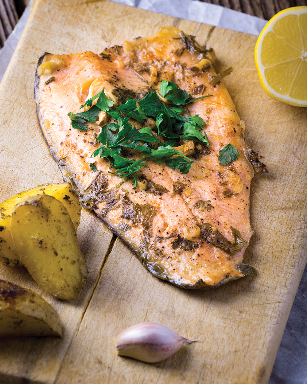 Broiled Steelhead Trout with Lemon, Garlic and Rosemary