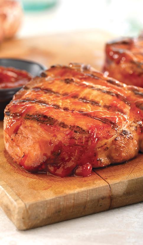 Pork Chops with Honey Mustard-Peach Sauce