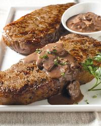 New York Steak With Mushroom Sauce