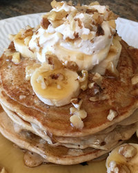 Whole Wheat Banana Nut Pancakes with Coconut Milk Whipped Cream